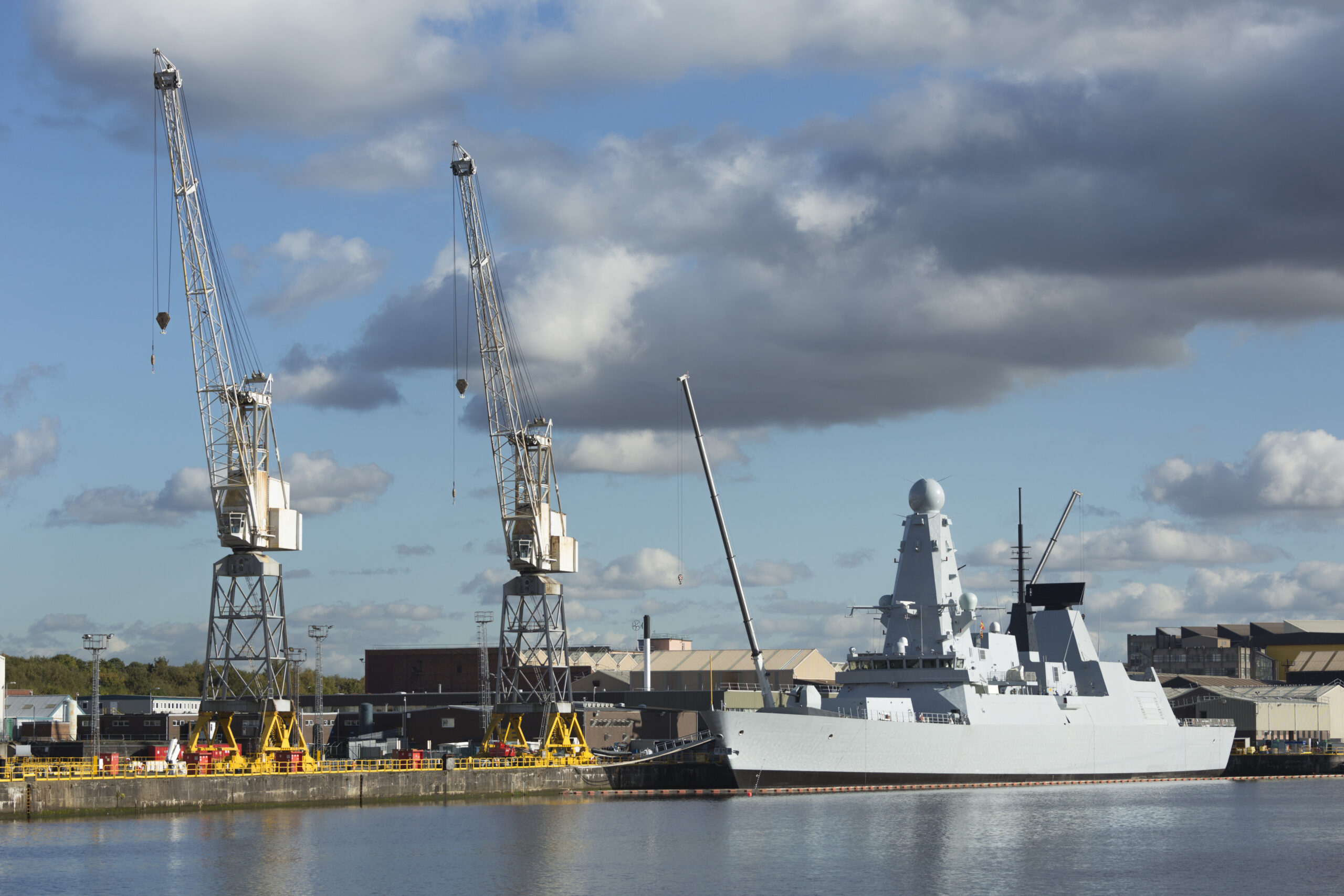 A Royal Navy air defence destroyer warship under construction at Scotstoun on the River Clyde in Glasgow.