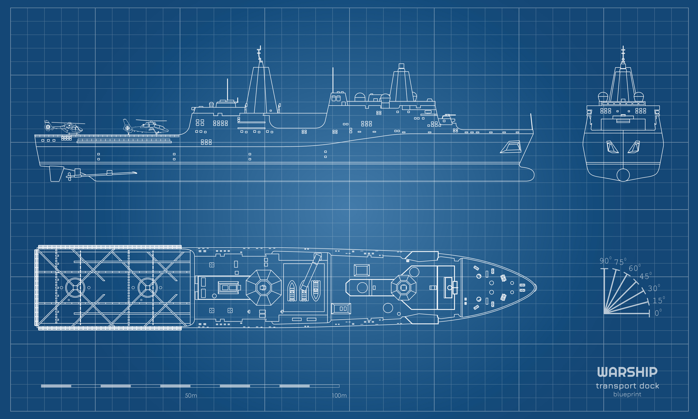 Outline blueprint of military ship. Top, front and side view. Battleship model. Industrial isolated drawing of boat. Warship USS. Vector illustration
