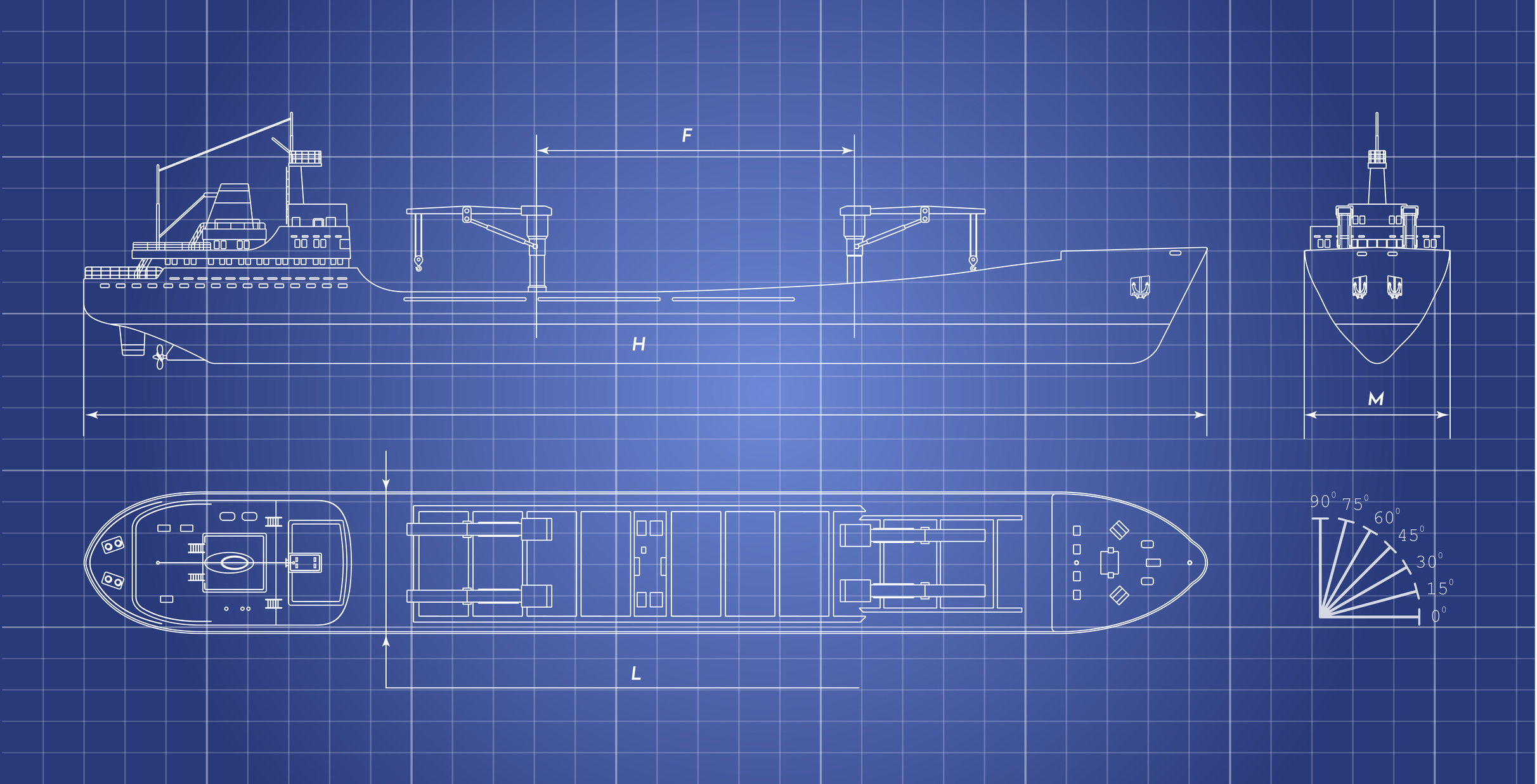 Blueprint of cargo ship on white background. Top, side and front view. Container transport. Industrial drawing. Vector illustration