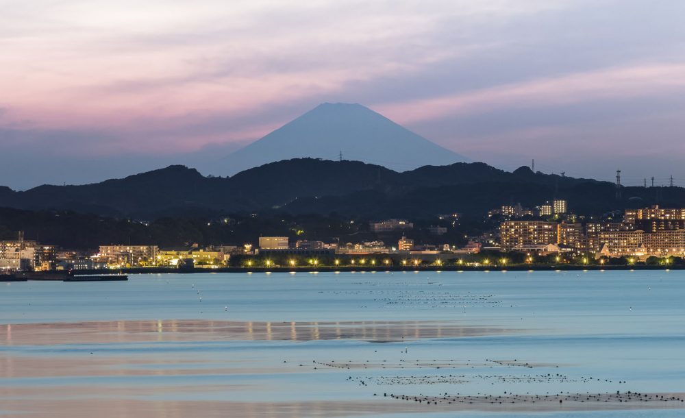 Mt.Fuji and Yokosuka city at twilight in spring season